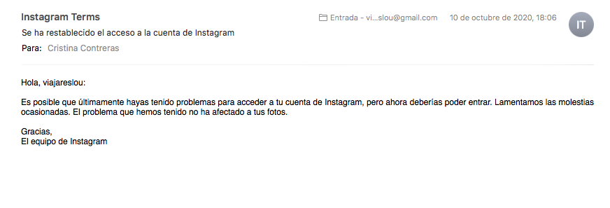 ¡¡Recupero mi cuenta de Instagram!!